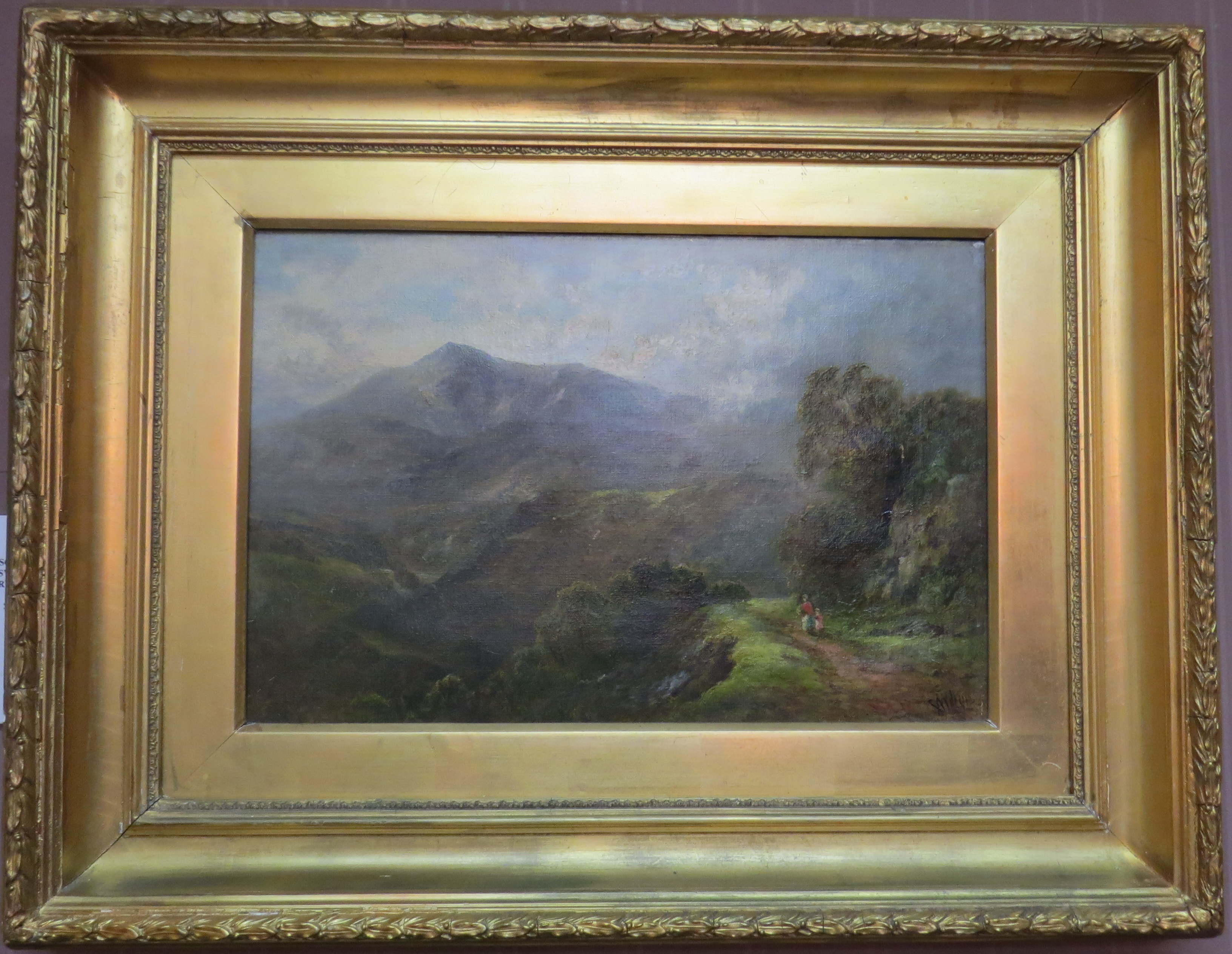 "Oil on Canvas of ""The Lledr Valley at Conwy Falls"" by George Wimon"