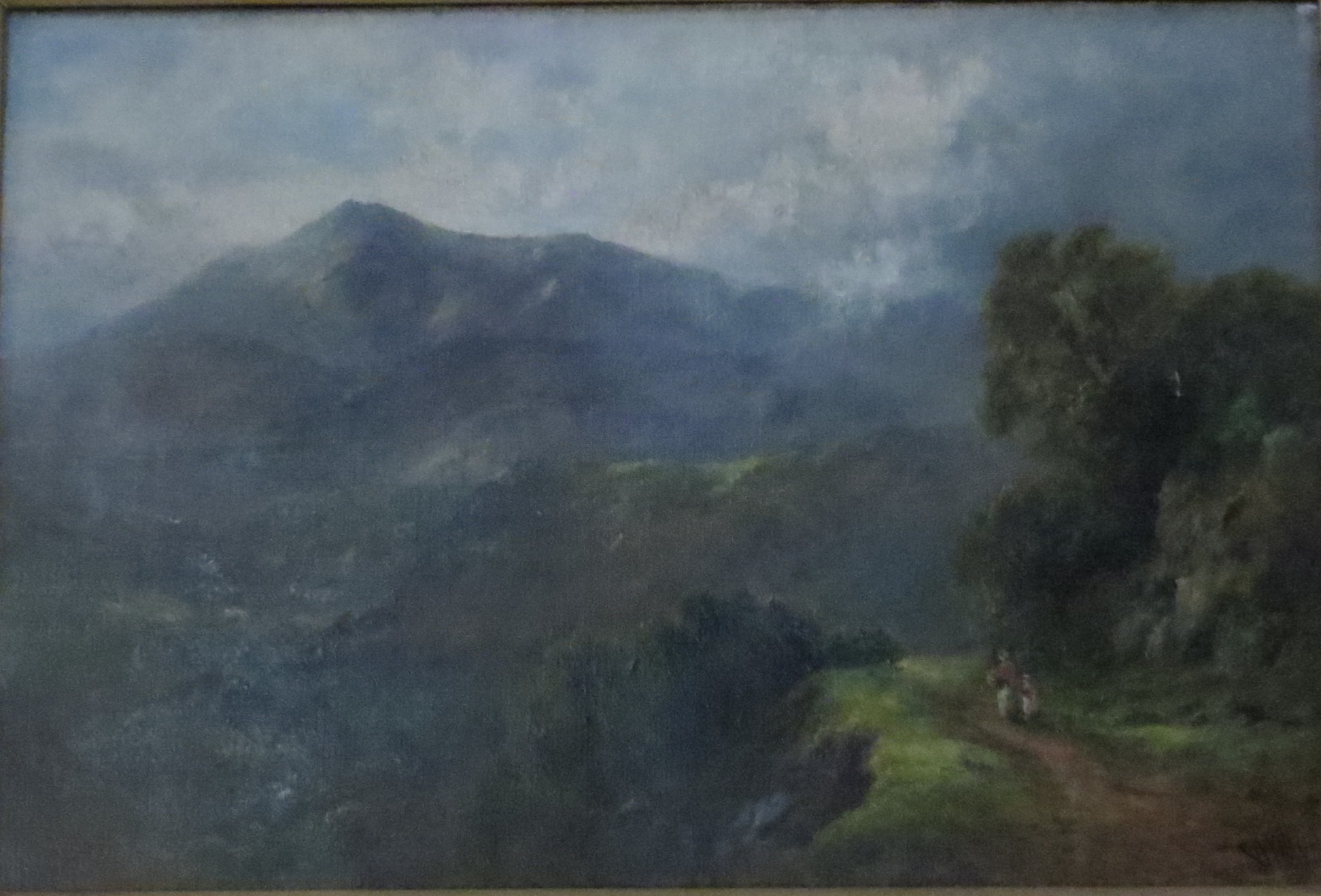 """Oil on Canvas of """"The Lledr Valley at Conwy Falls"""" by George Wimon"""