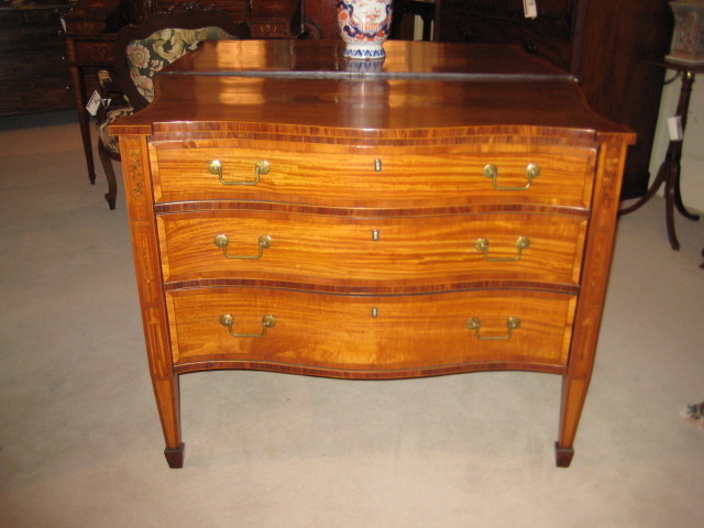George III Serpentine Mahogany And Satinwood Chest