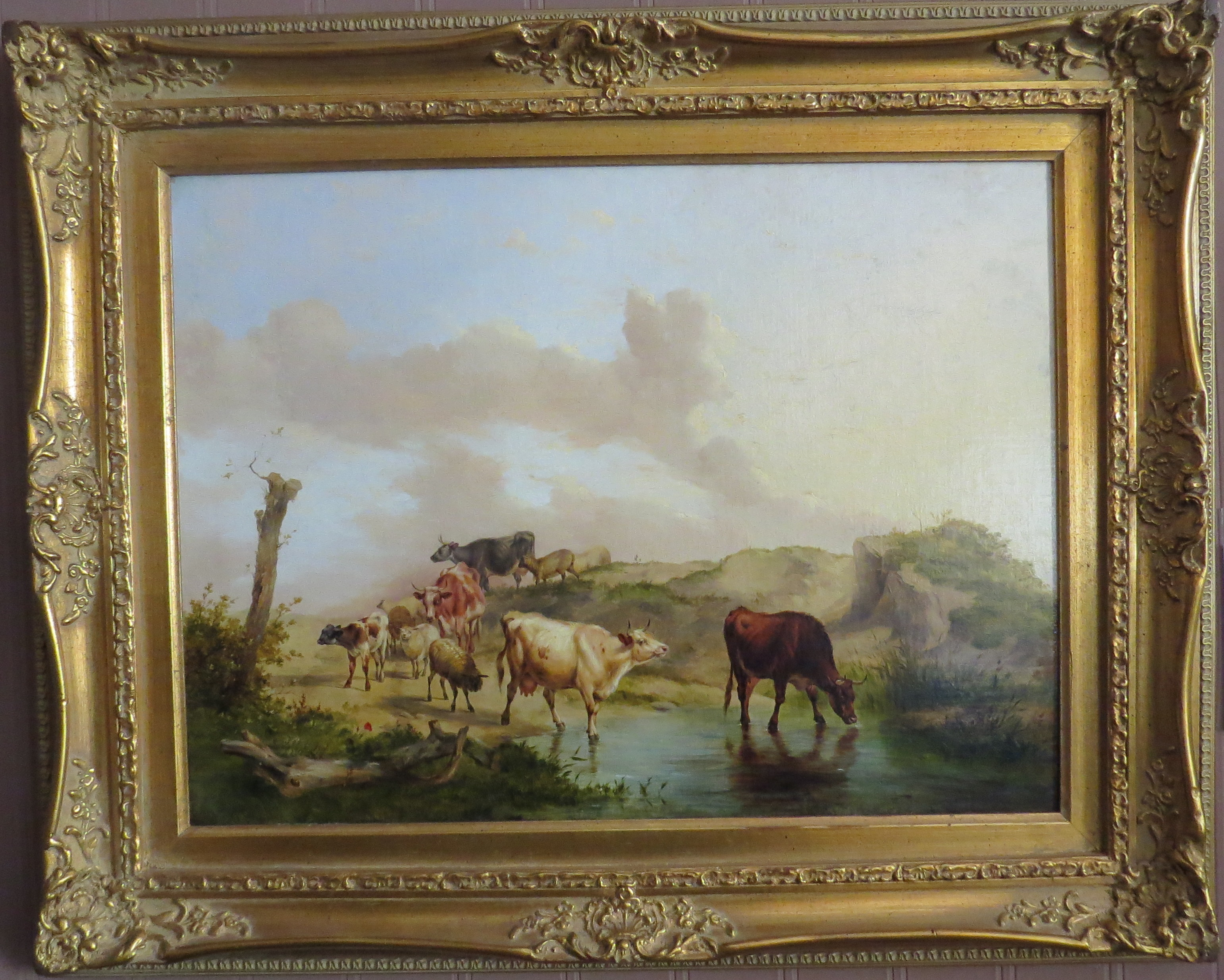 "Oil on Canvas of ""The Watering Place"" signed Thomas Sidney Cooper, R.A. (British, 1802-1903)"