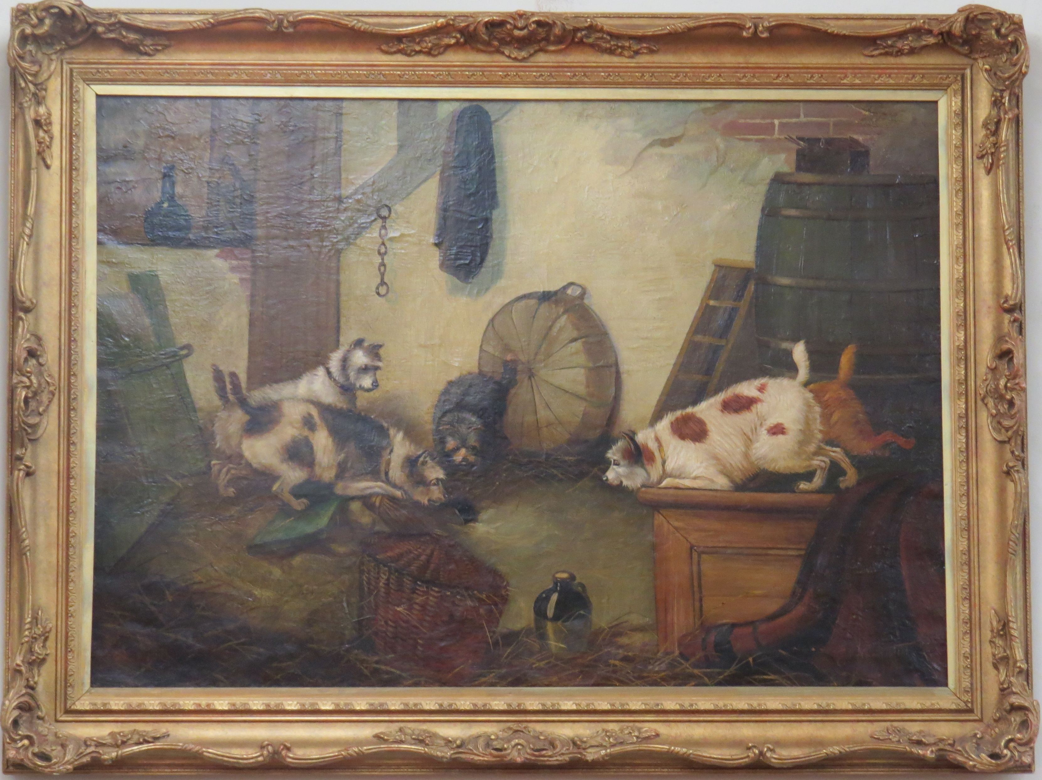 Oil on Canvas of Terriers by Edward Armfield