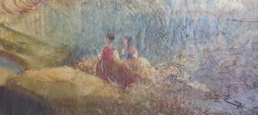 Oil on Canvas of a Coastal and Port Scene