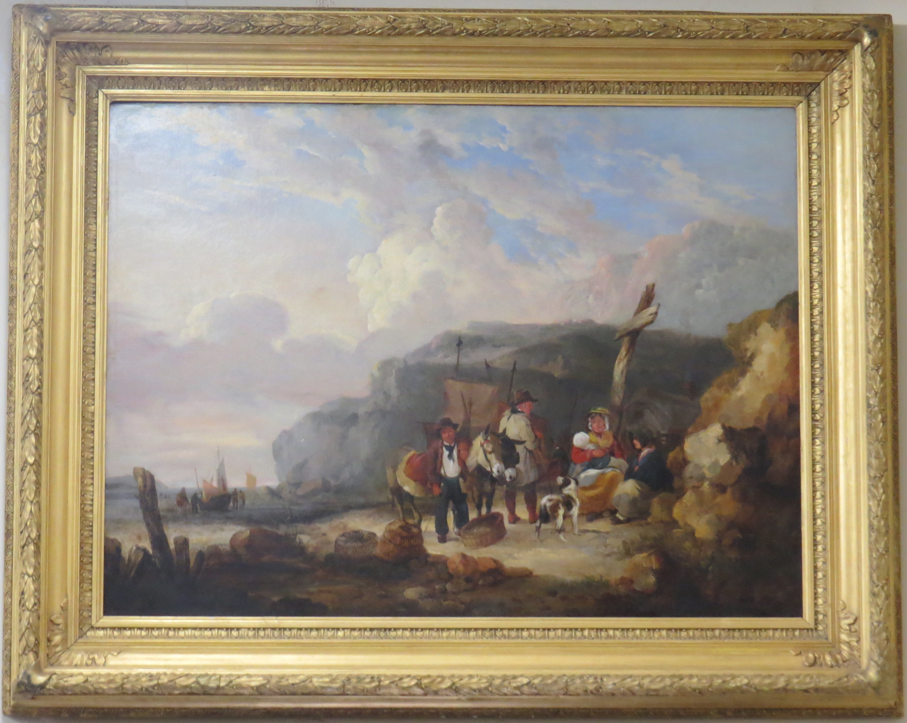 Oil on Canvas of a Coastal Scene, Signed W. Shayer (1811-1892)