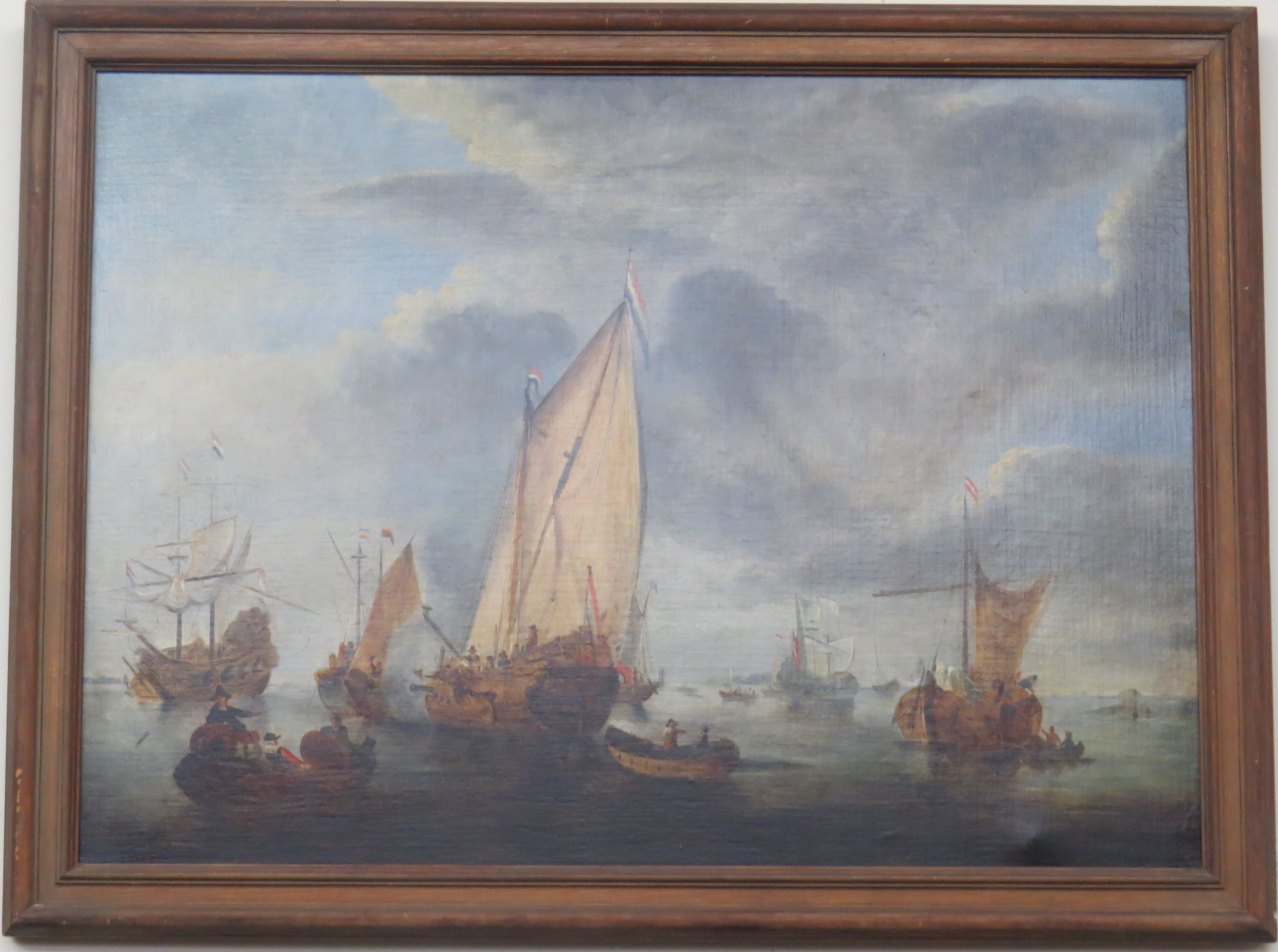 Oil on Canvas of a Nautical Scene with Dutch Ships Preparing for Battle