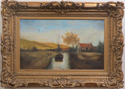 Oil on Canvas of a Boat and House on a Canal, Signed H. Hall