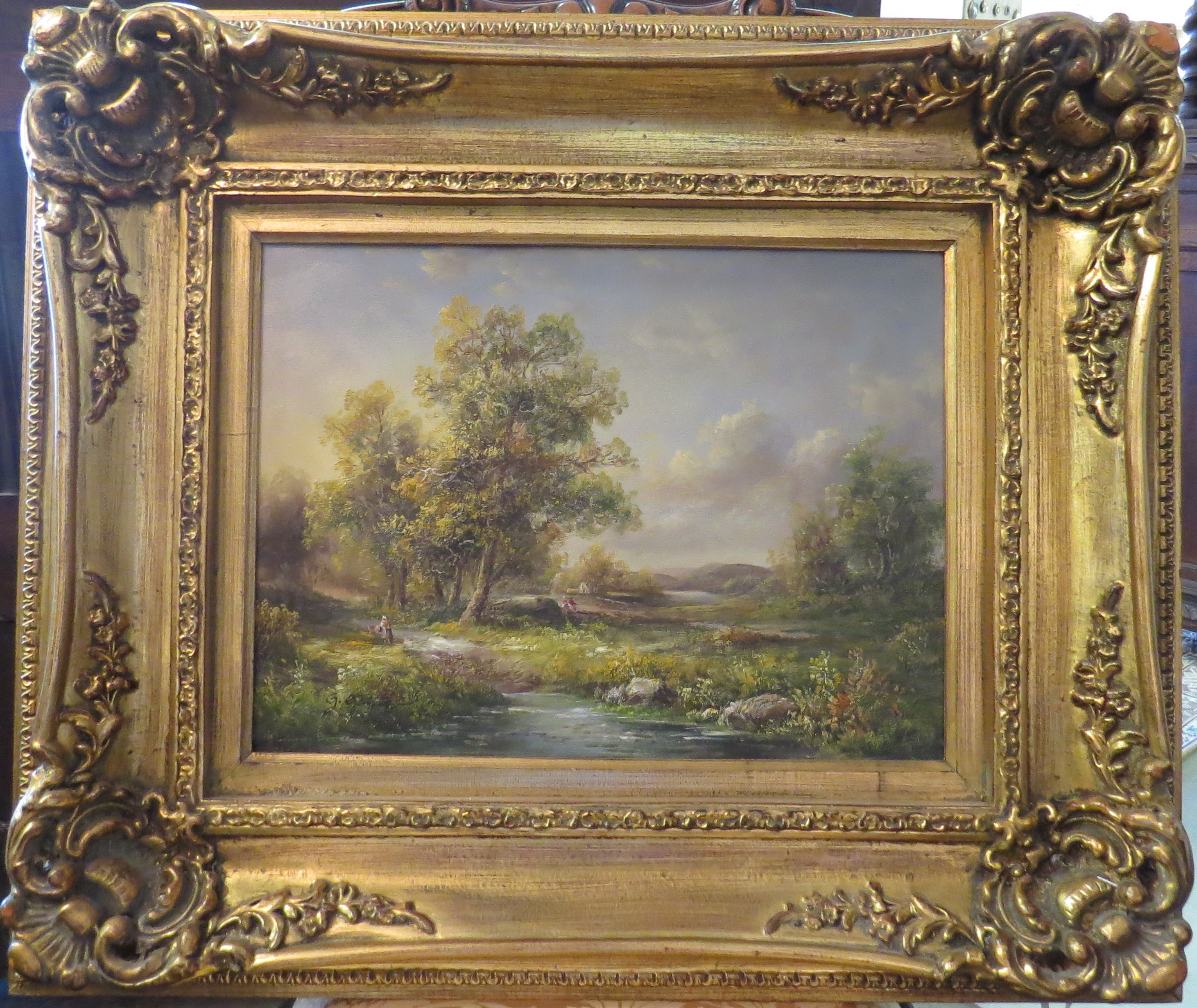 Oil on Canvas Depicting a Mountain Valley Farm Scene