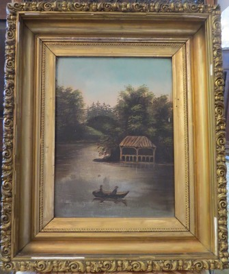 Oil on Board of a Serene River Seen