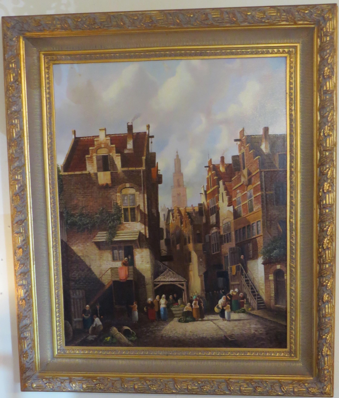 Oil on Canvas of a European City Scene
