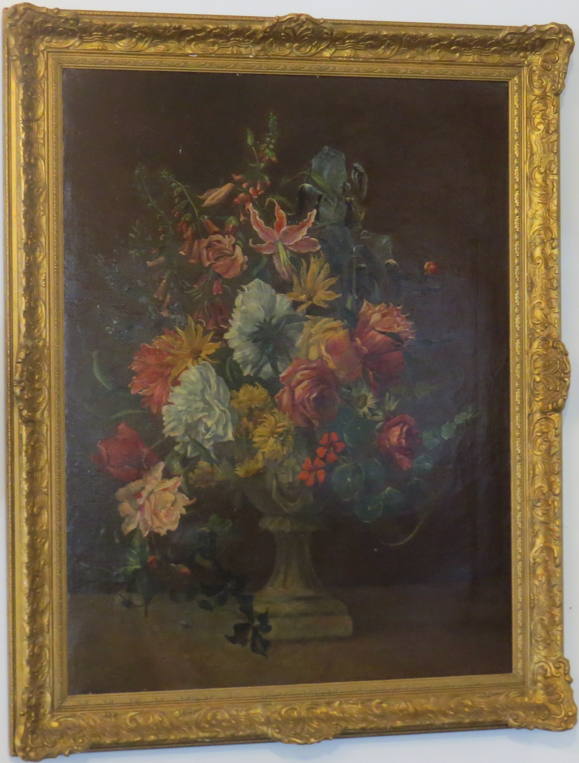 Colorful Dutch Floral Still Life, Oil on Canvas