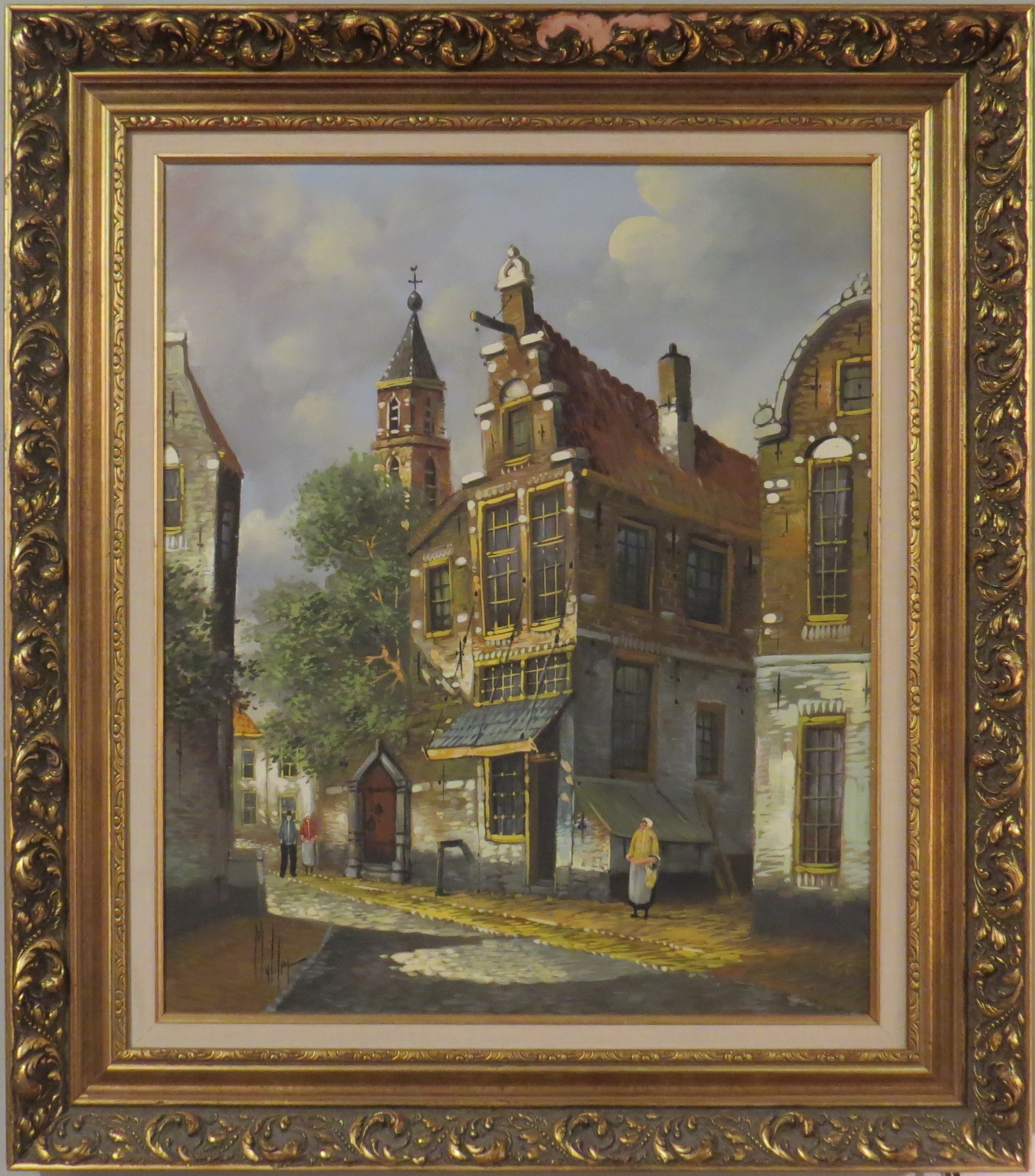 Oil on Canvas of a European Village Scene, Signed Mulder