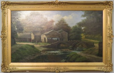 Oil on Canvas of a Country Village, Signed W. Baldwin (1926)