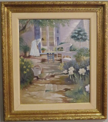 Oil on Canvas of an Impressionist Garden Scene, Signed Candi
