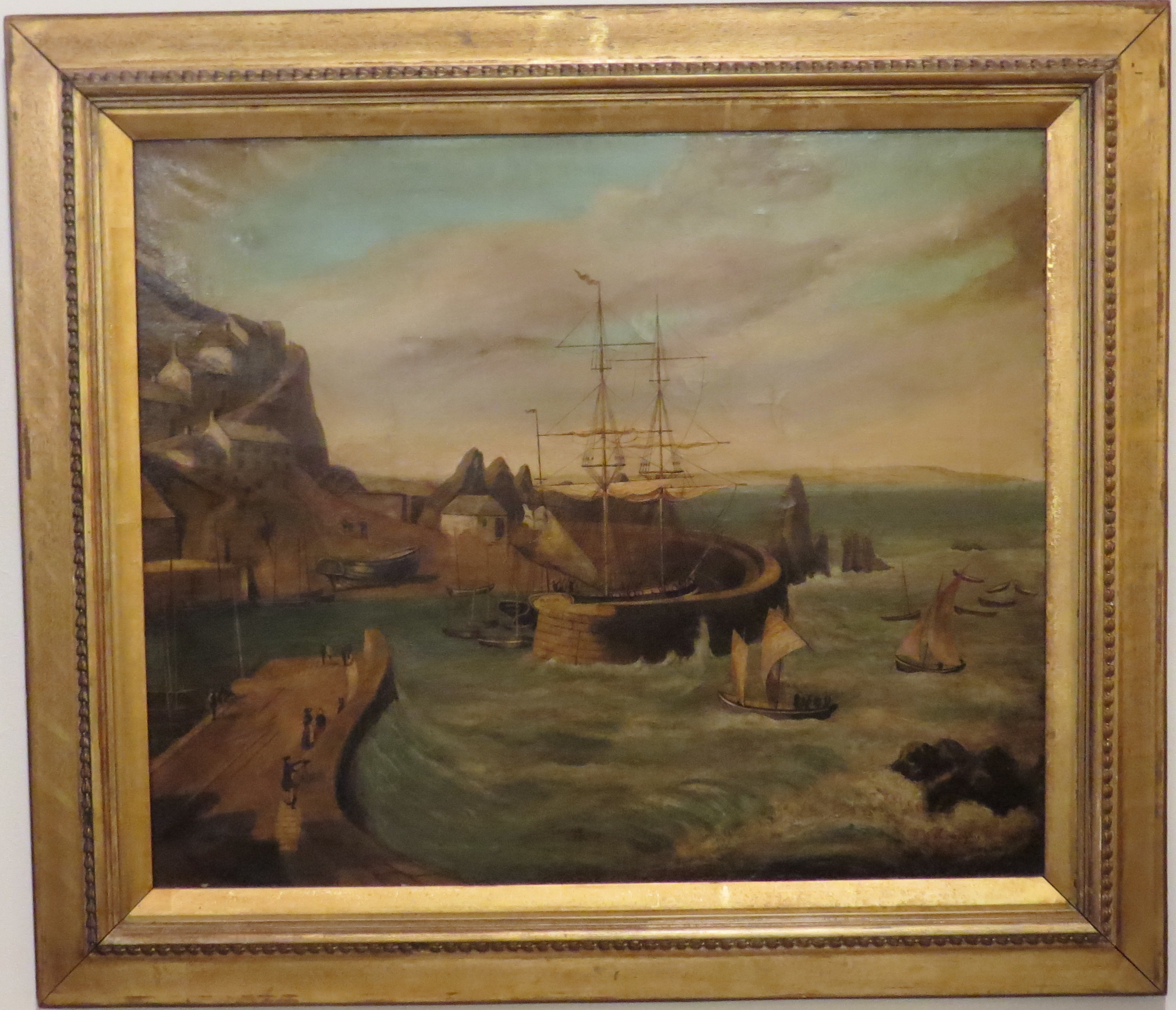 Oil on Canvas of a Harbor Scene in Mevagissey, Cornwall, England