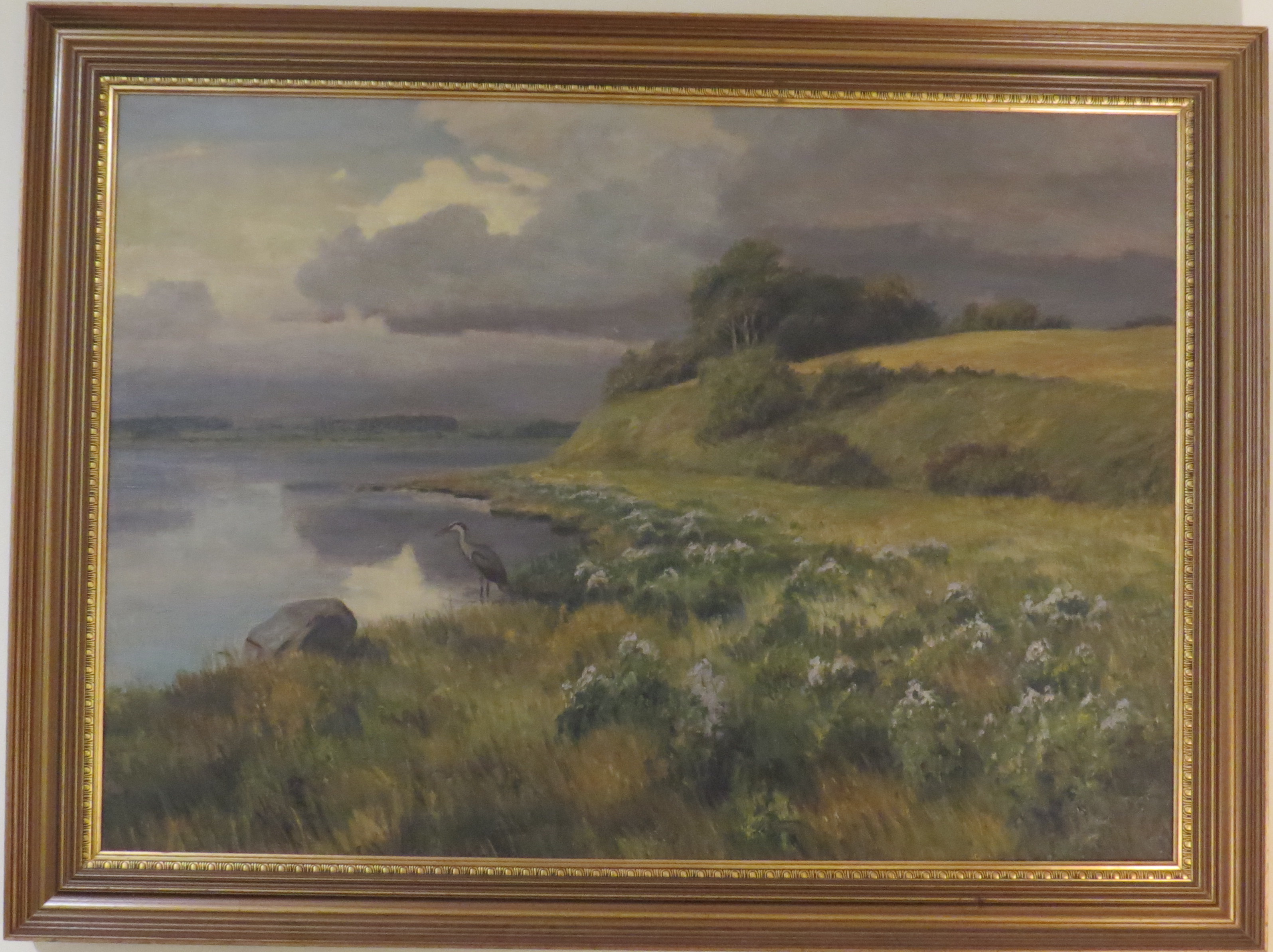 Oil on Canvas of a Landscape Scene with a Heron by a Lake