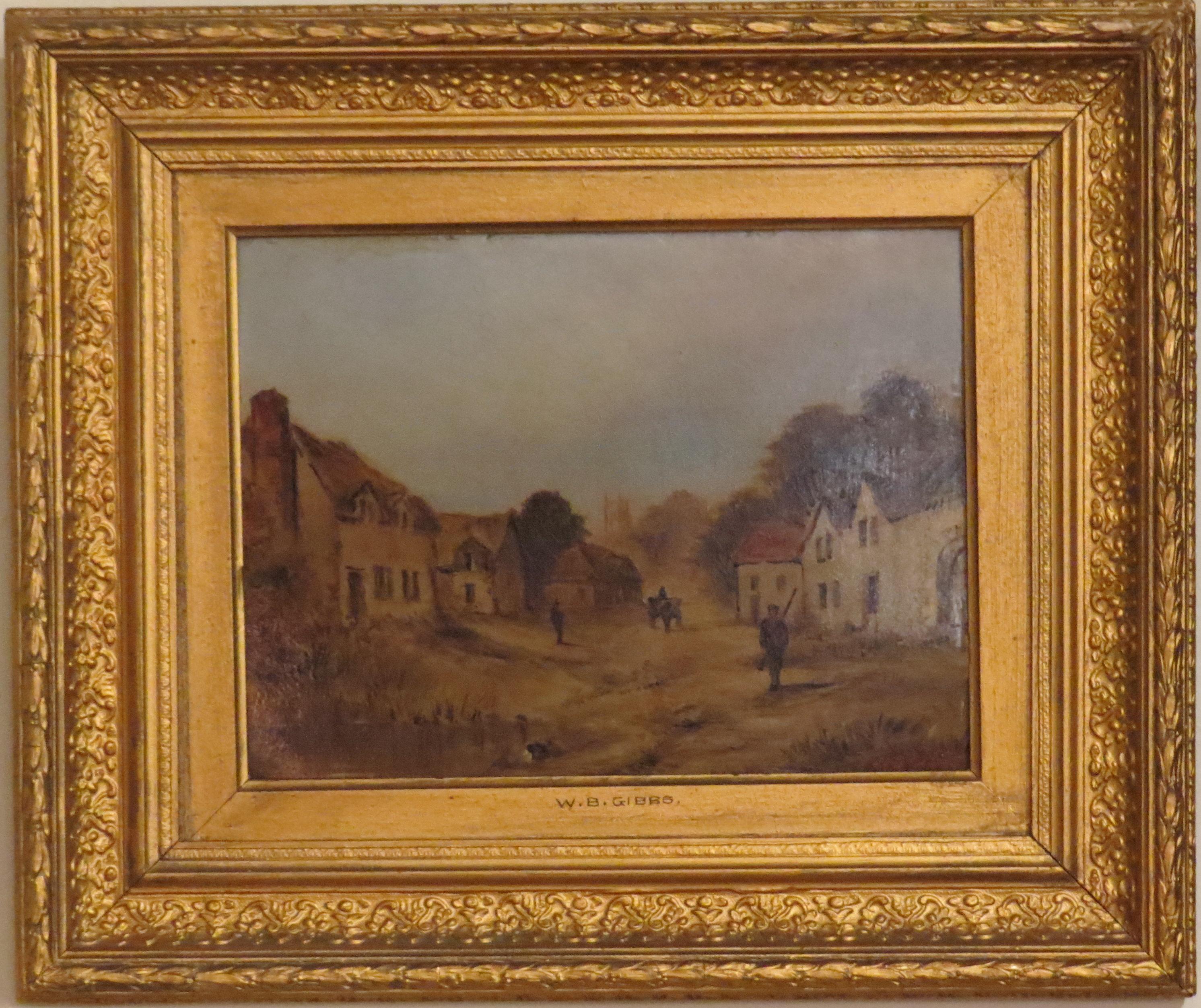 Oil on Board of a European Village Scene, Signed W.B. Gibbs