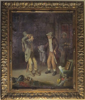 "Oil on Canvas of a German Tailor's Shop; signed ""Biehringer, 1871"""