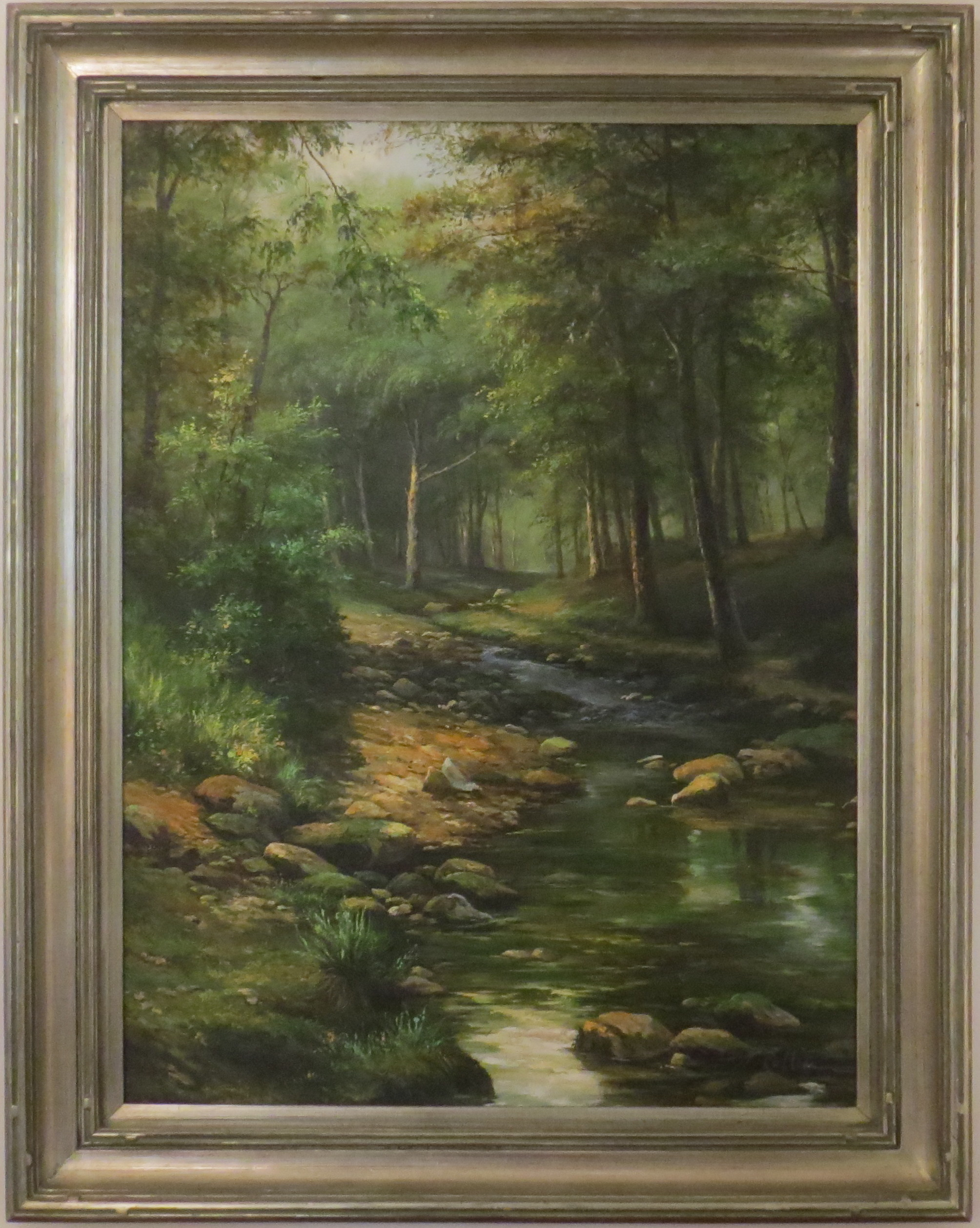 Oil on Canvas of a Forest Scene with Steam & Rocks, signed J. Collin