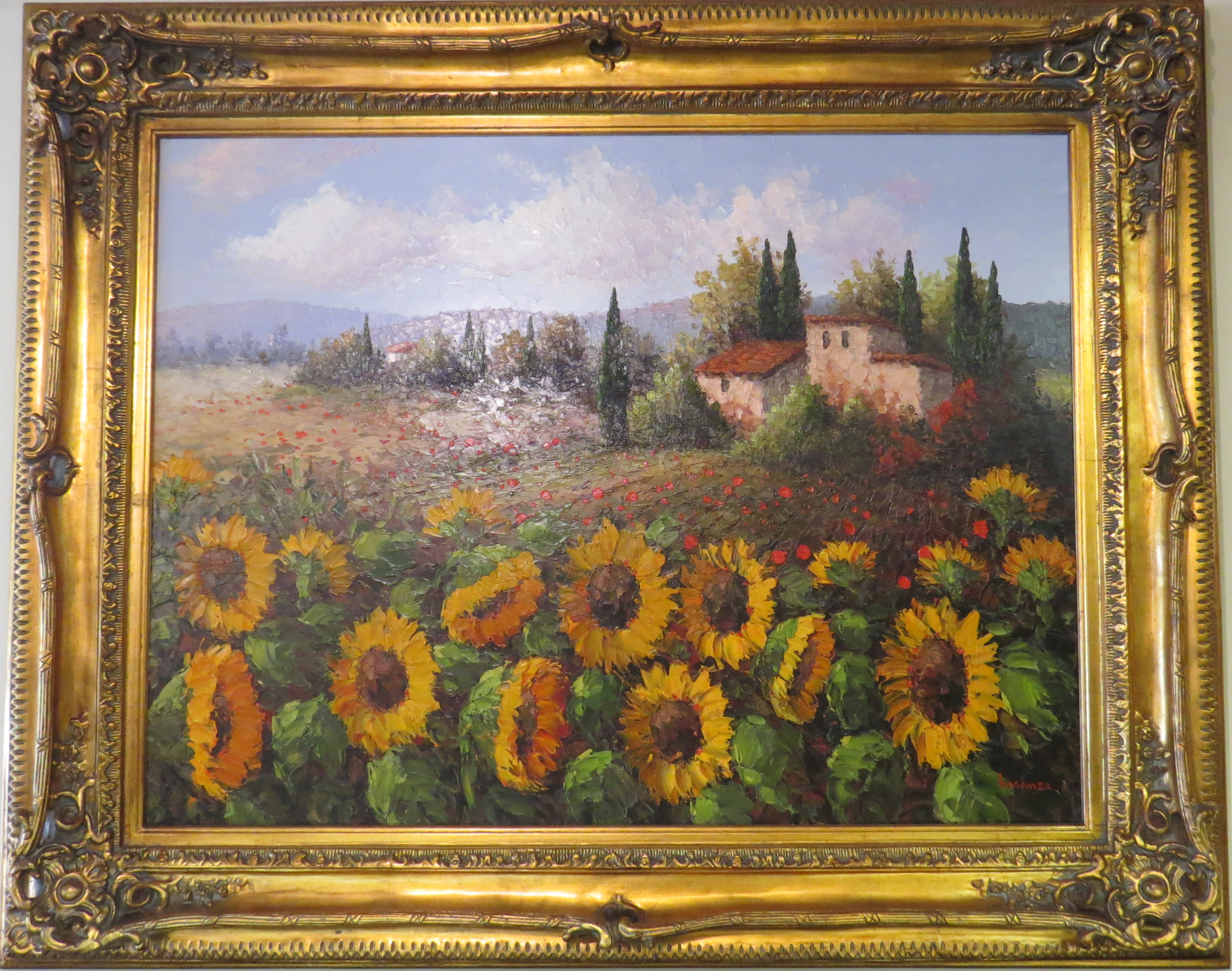 Oil on Canvas of a French Landscape, signed by Eva Hosanza