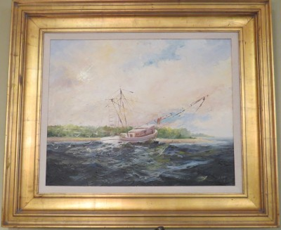 Oil on Canvas of a Fishing Boat