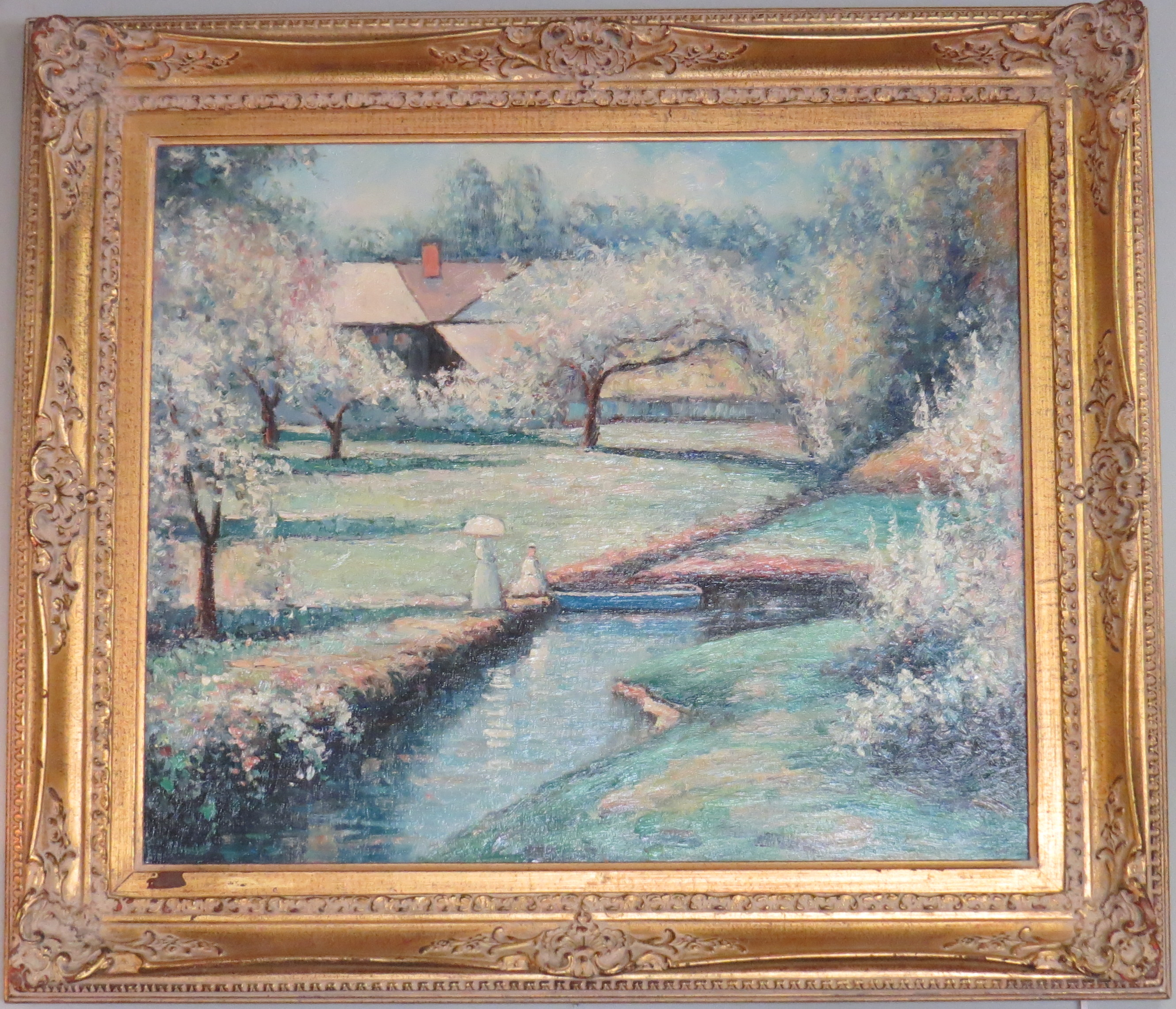 Pair of Oil on Canvas Paintings in Gold Gilt Frames, signed James Daly