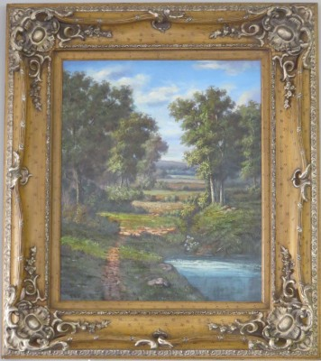 Oil on Canvas of a Landscape Scene, signed G. Cotner