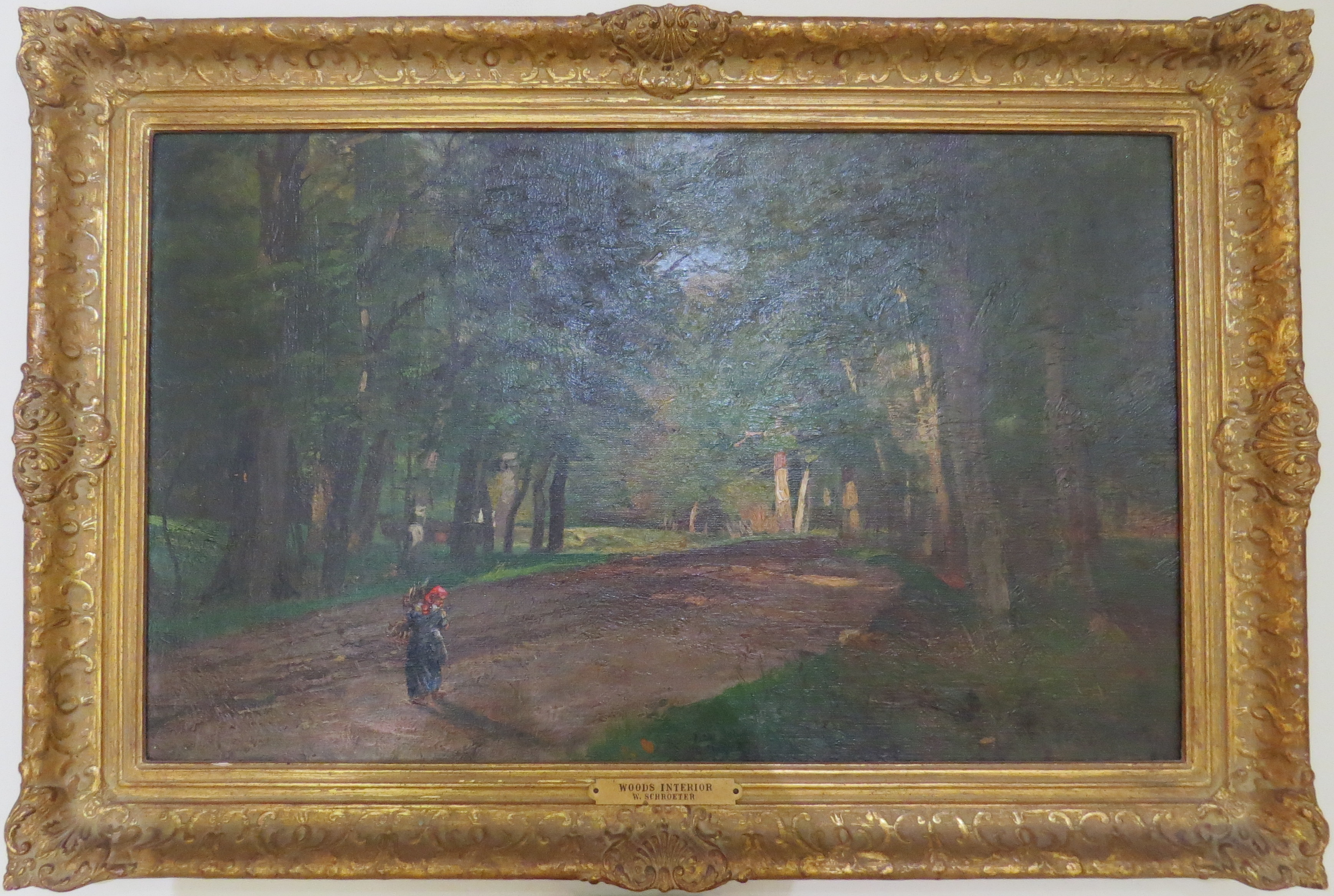 """Oil on Canvas of """"Woods Interior"""" by W. Shroeter (German, 1849-1904)"""