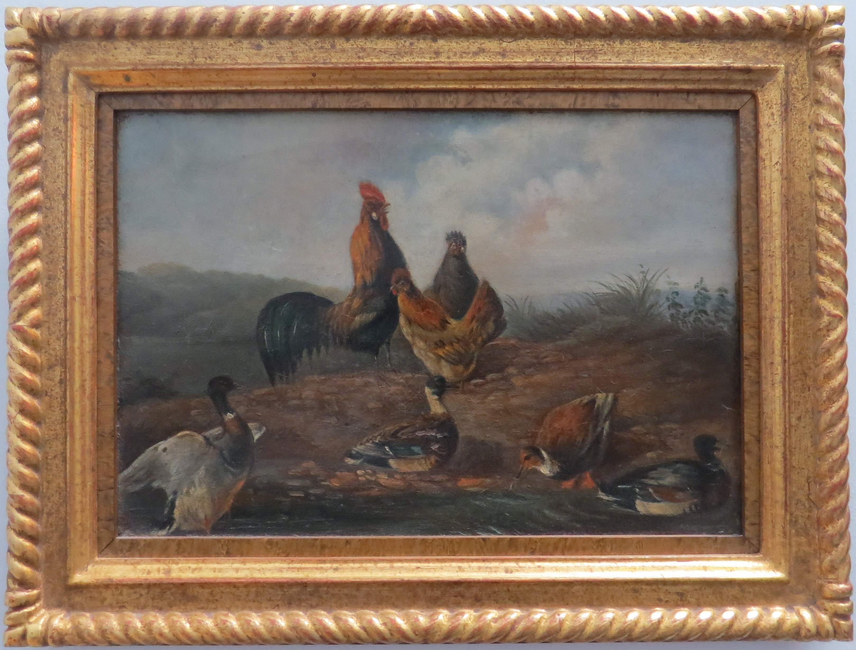 Oil on Canvas with Ducks, Roosters and Chickens