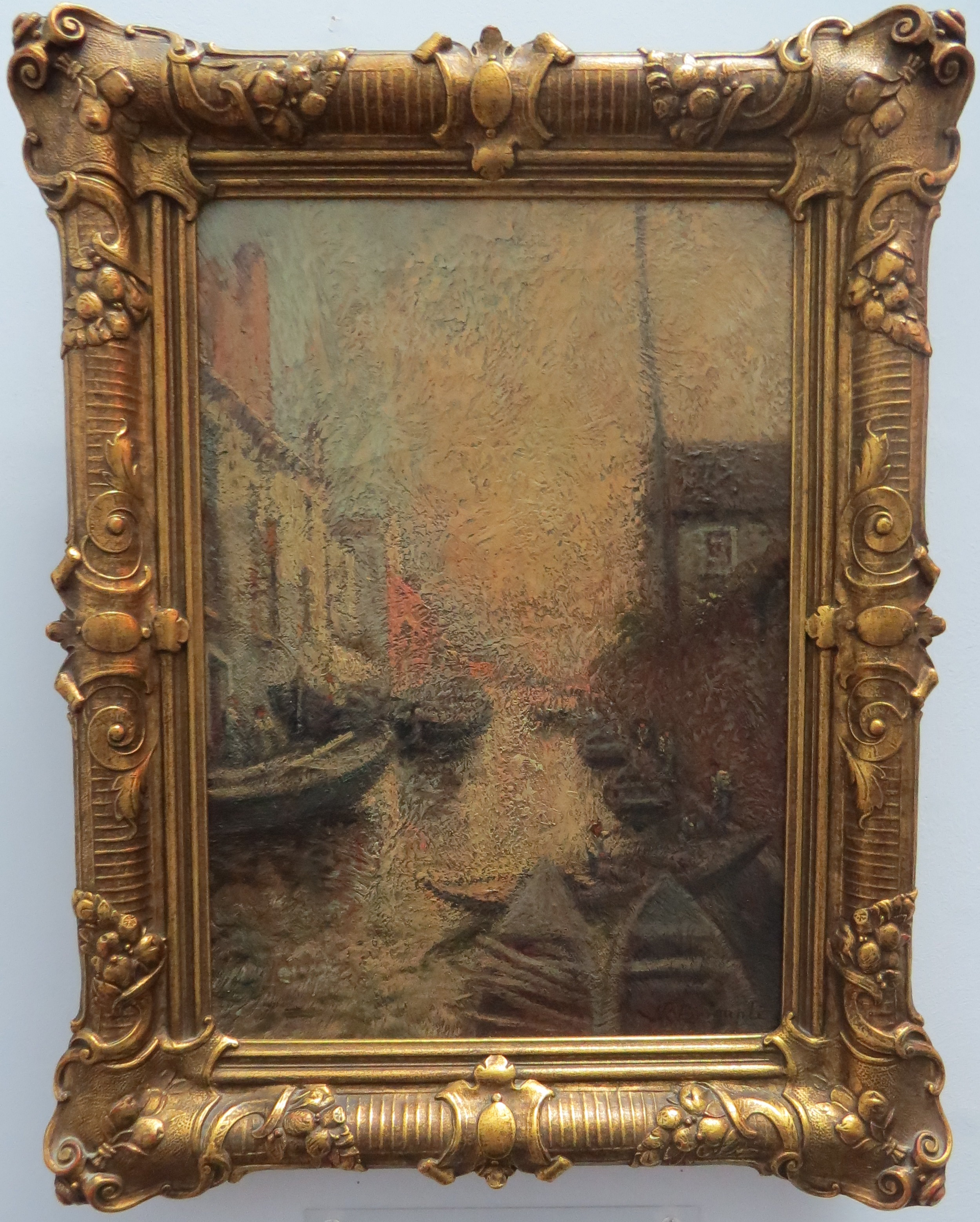 Oil on Panel of Venetian Canal Santo Qistina, signed N. Briganti (Italian)