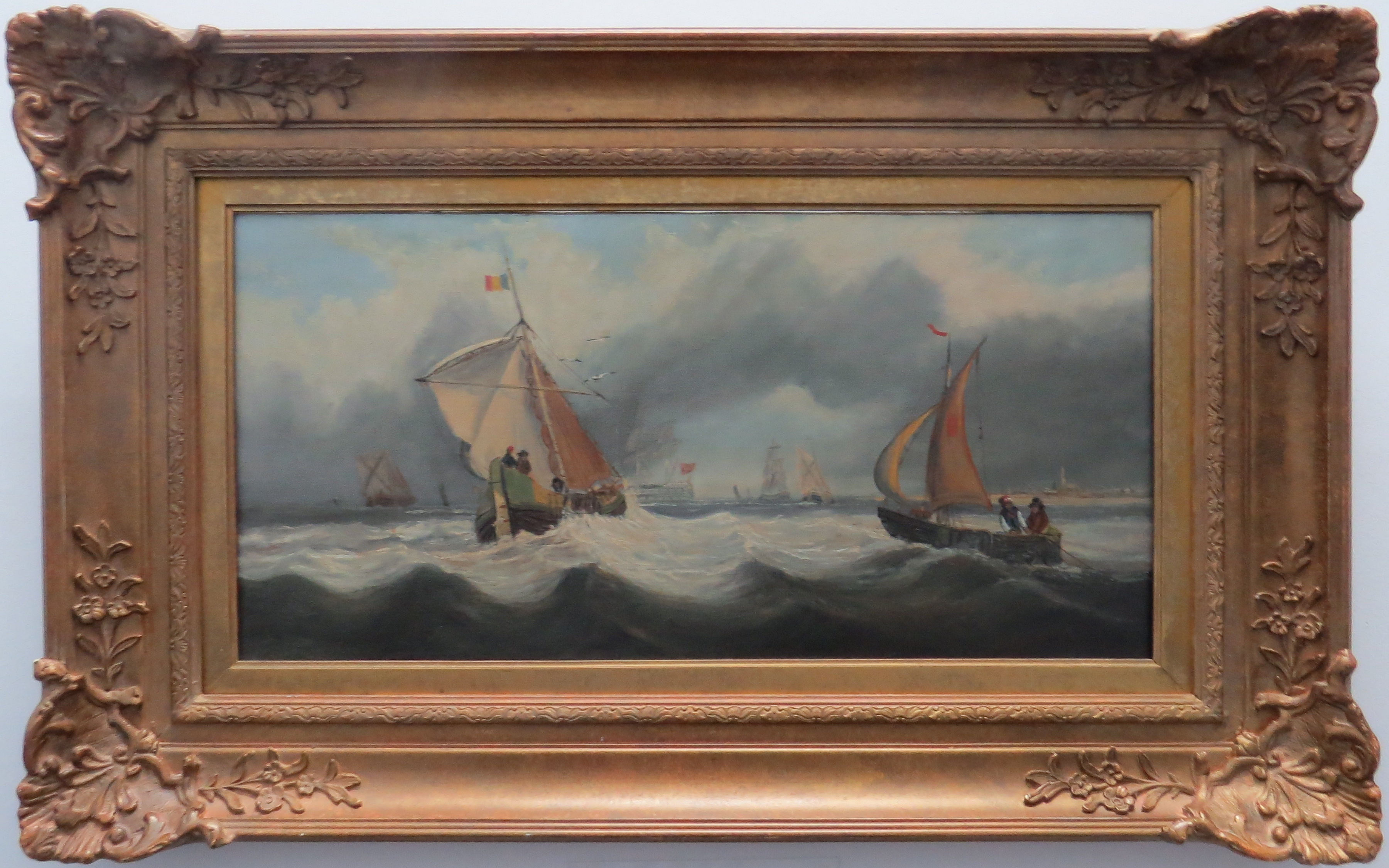 Oil on Canvas of Sailing Vessels, English School of Art