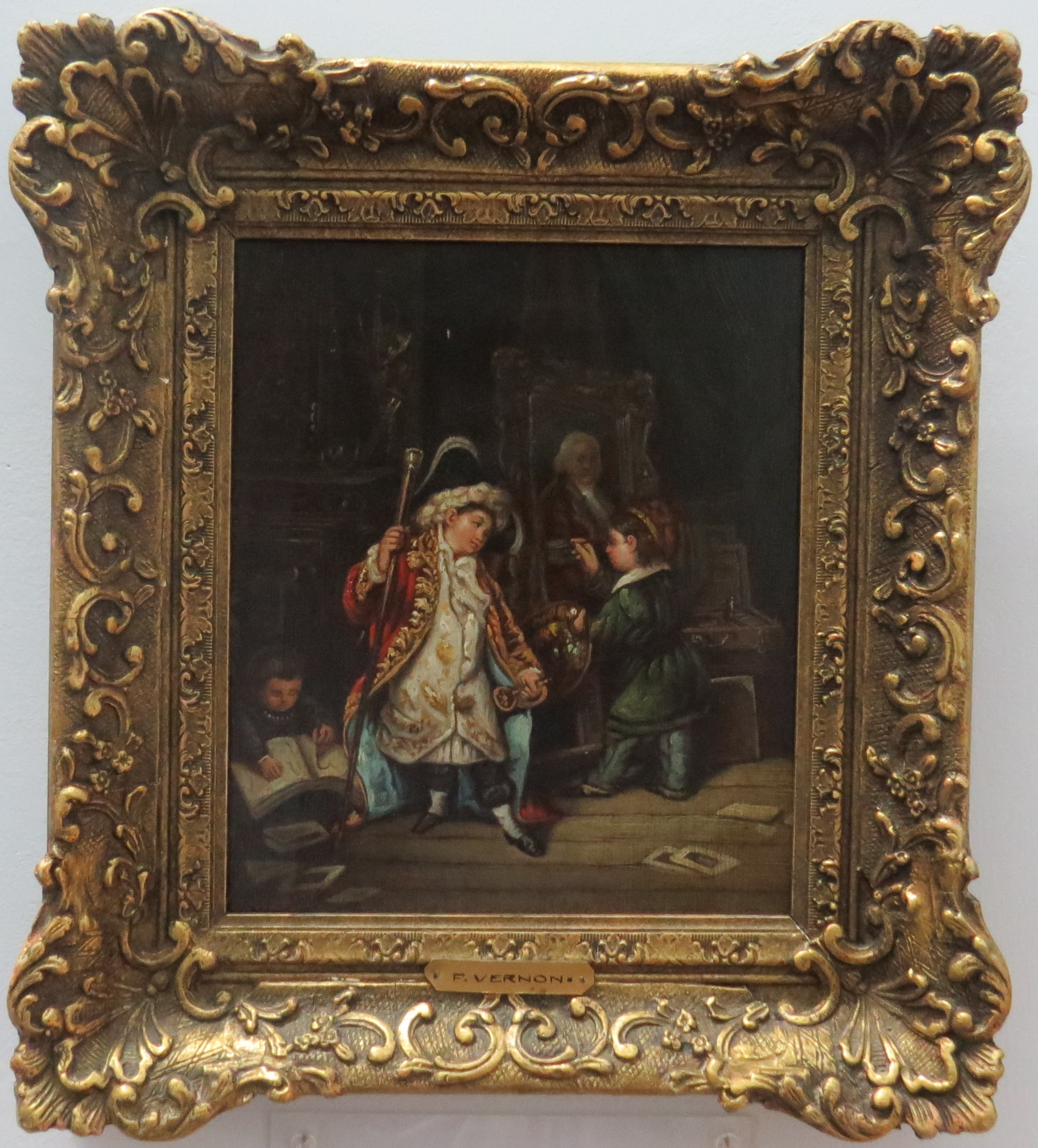 Oil on Canvas of a Boy Posing for an Artist, Signed F. Vernon