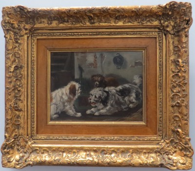 Oil on Panel of Three Dogs Playing, signed R.M.