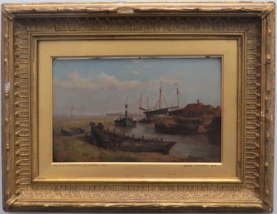 "Oil on Board of ""Mouth of the River Freshney, Near Grimsby, Lincolnshire"" by George Cammidge (1874)"