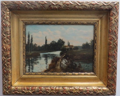 "Oil on Canvas of ""Near the Mills, Shiplake on Thames"" by Theodore Hines (British)"