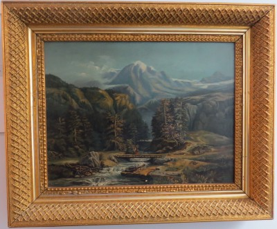 Oil on Canvas of an Alpine Landscape with a River and Bridge