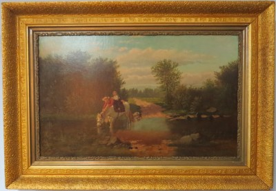 "Oil on Canvas of ""Crossing the Stream"" by Frederick George Reynolds (British, 1828-1921)"
