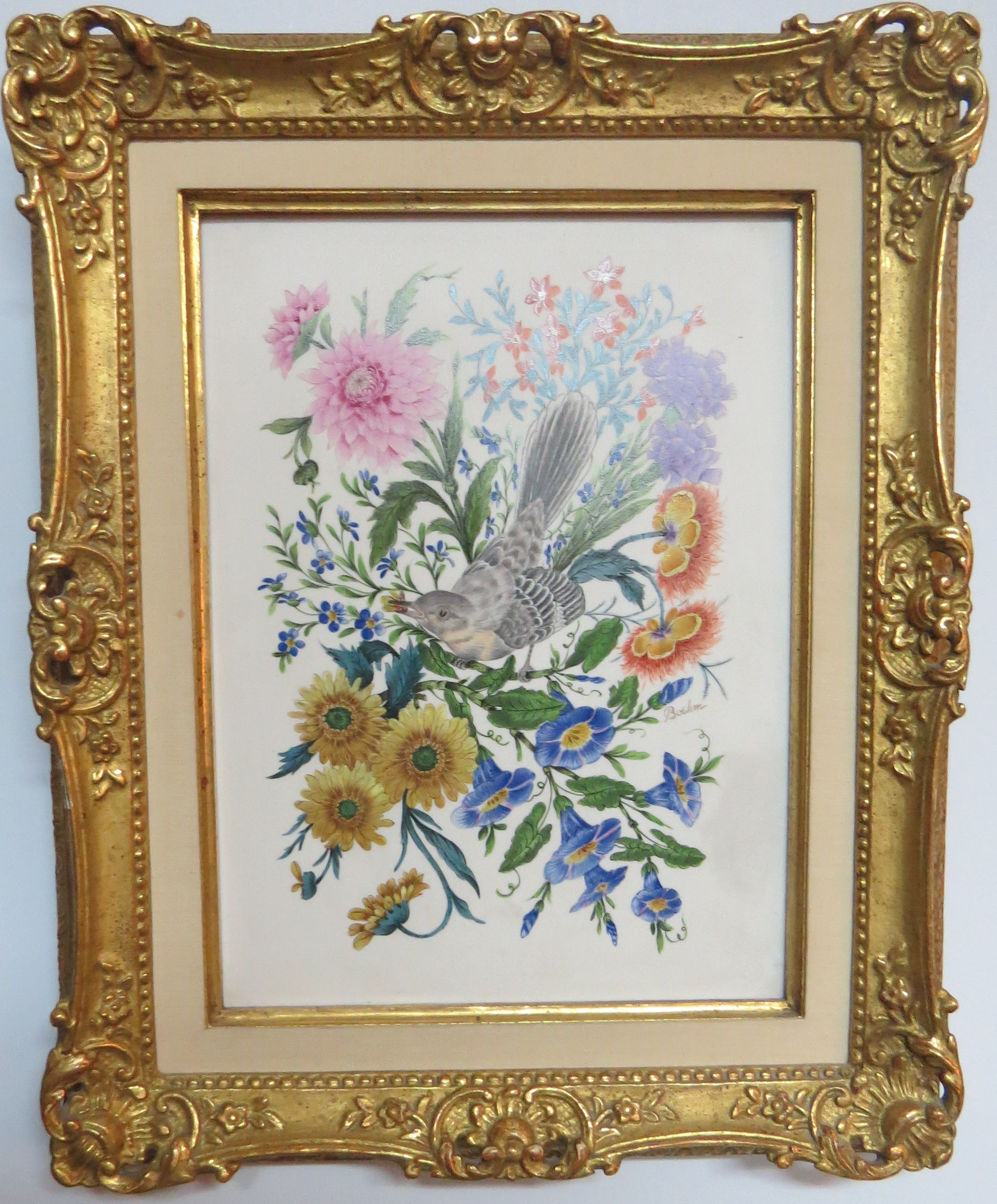 Pair of Boehm Paintings on Porcelain Tile of Mockingbirds with Flowers, signed Boehm