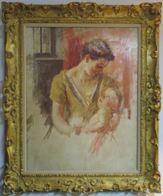 Oil on Canvas of a Mother and Child