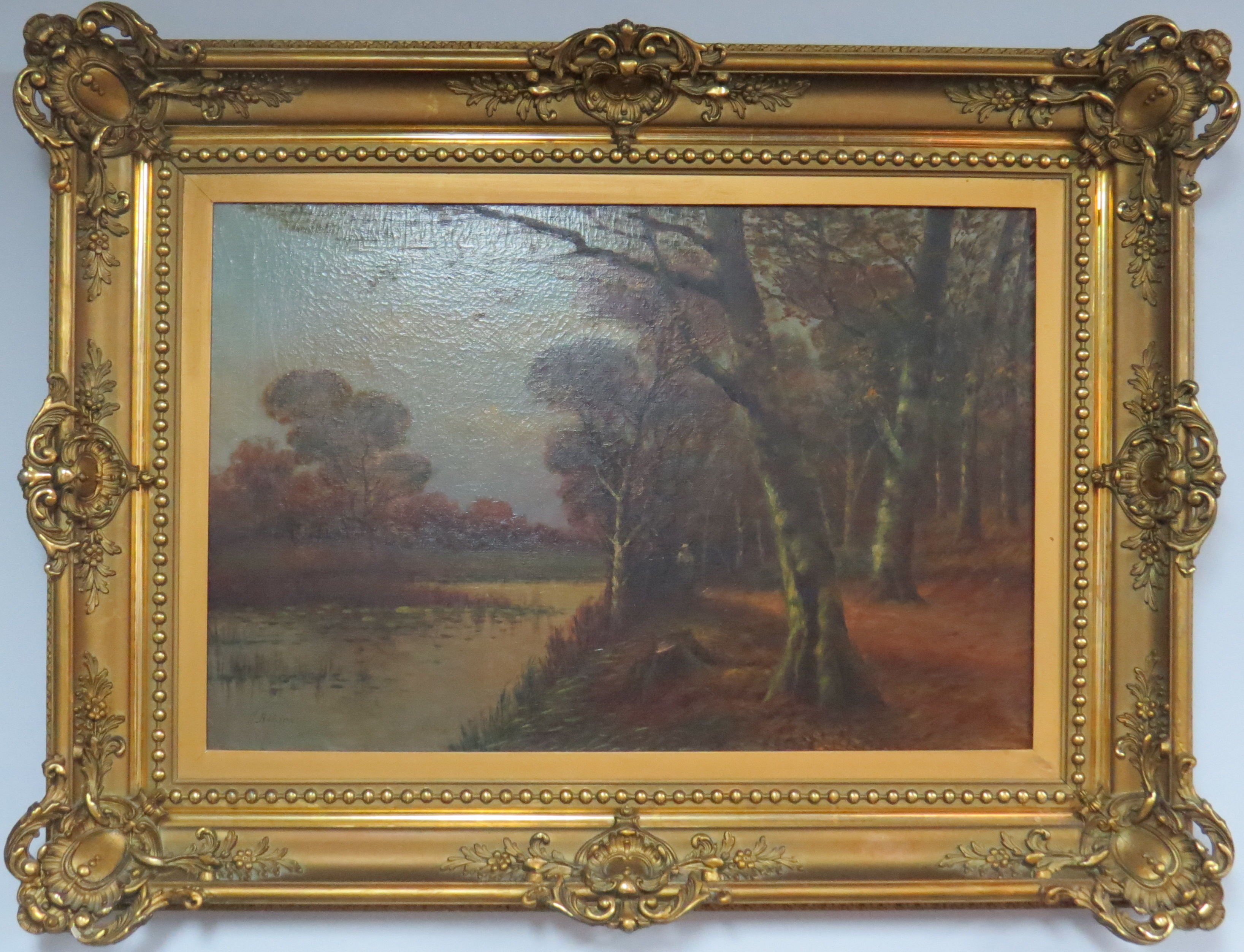 Oil on Canvas of a Landscape with a Lake, signed R. Bohmer