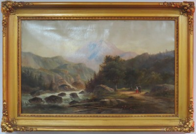 Oil on Canvas of a River Scene in a Carved and Gilt Frame
