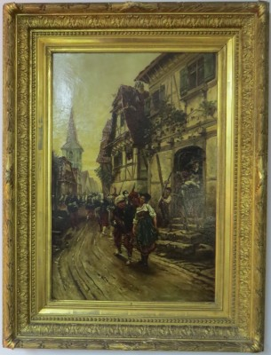 Oil on Canvas of a 19th Century French Village, signed A. de Neuville (1879)