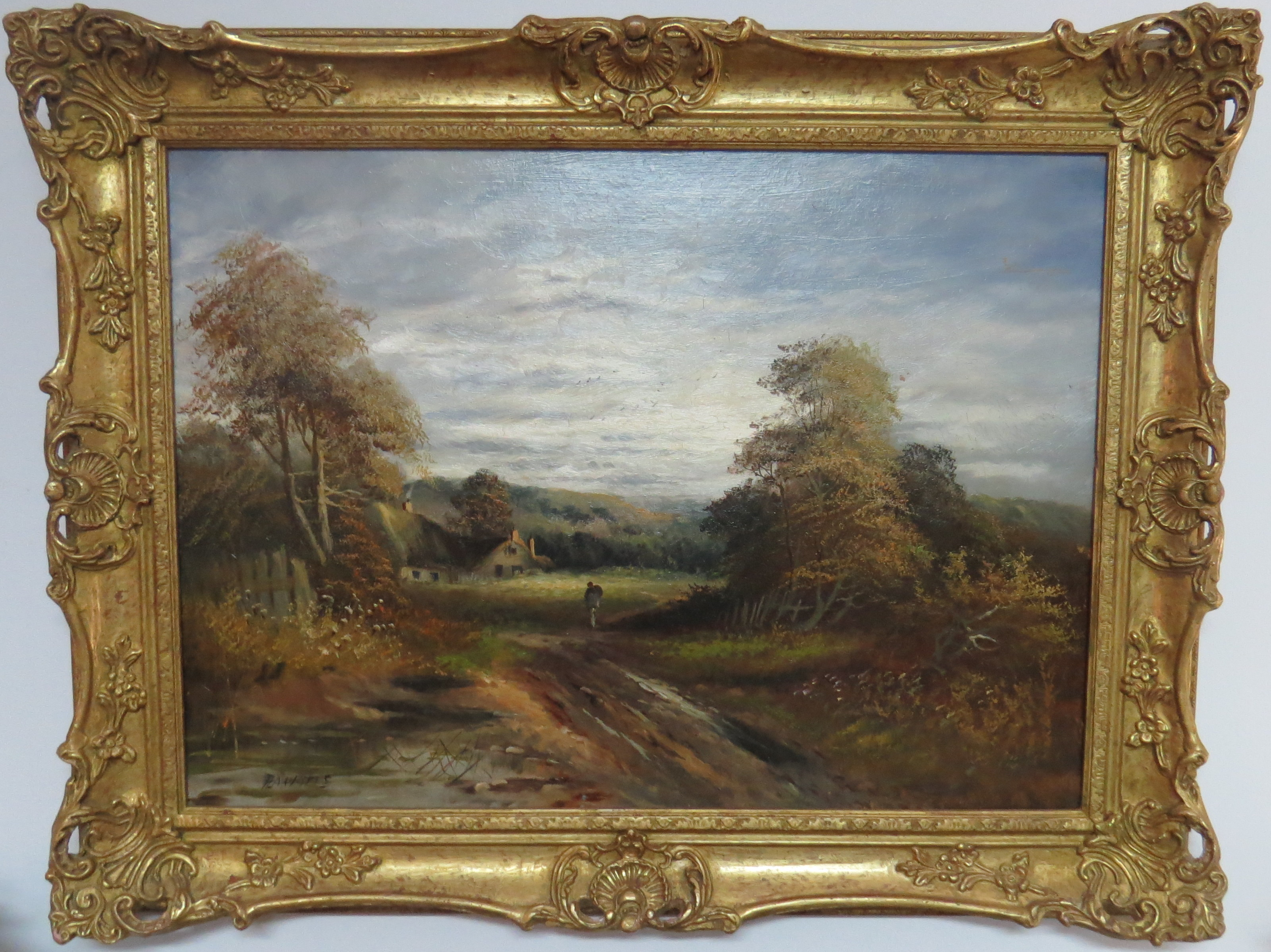 Oil on Panel of a Farmhouse Landscape, signed H.A. Watts