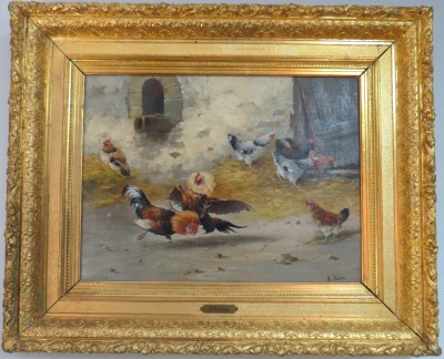Oil on Canvas of a Stable Scene, Signed Andre Prehn