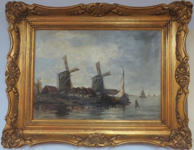 Oil on Canvas of a Dutch Coastal Scene
