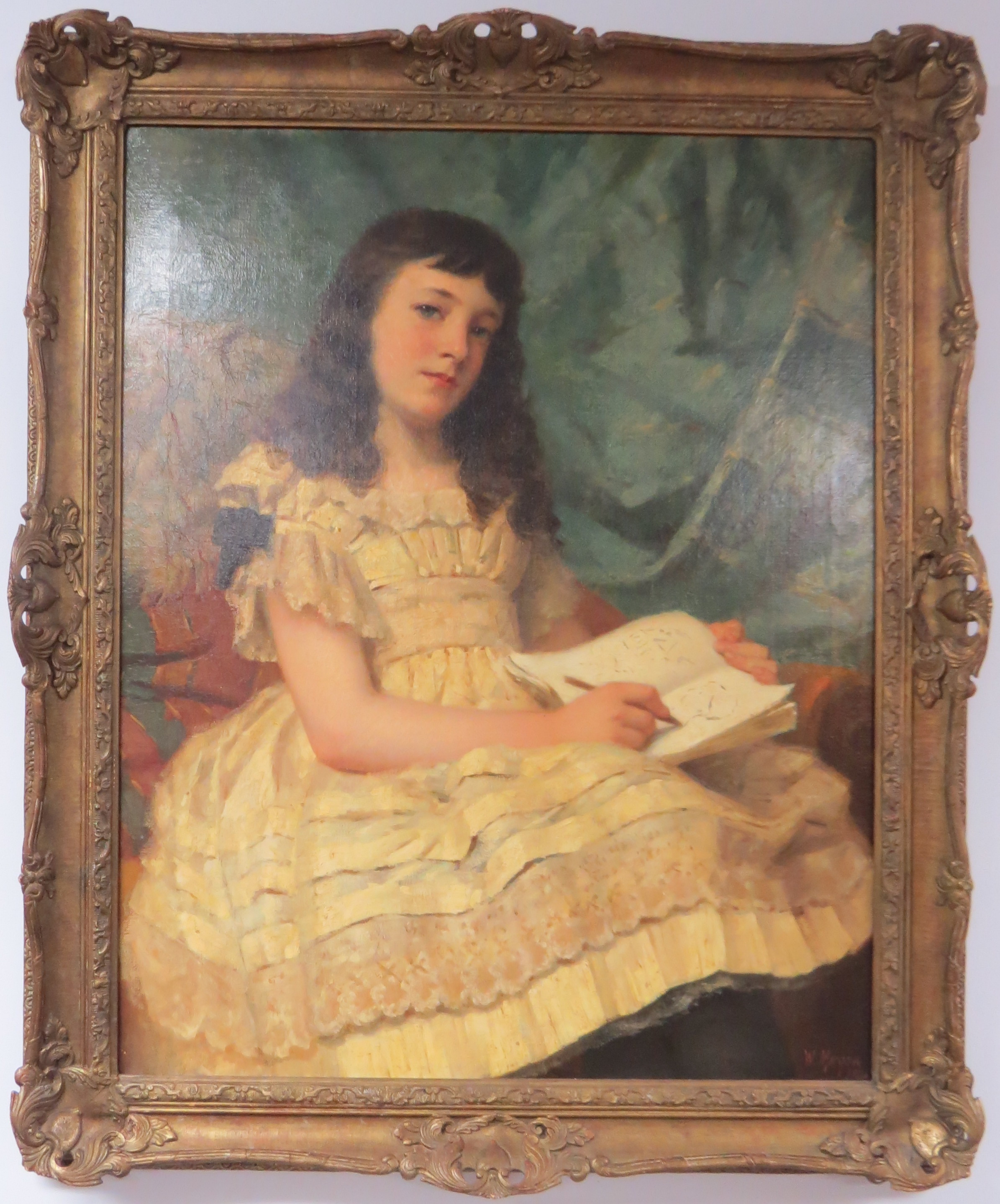 Oil on Canvas of a Young Girl, signed William Morgan (American, 1826-1900)