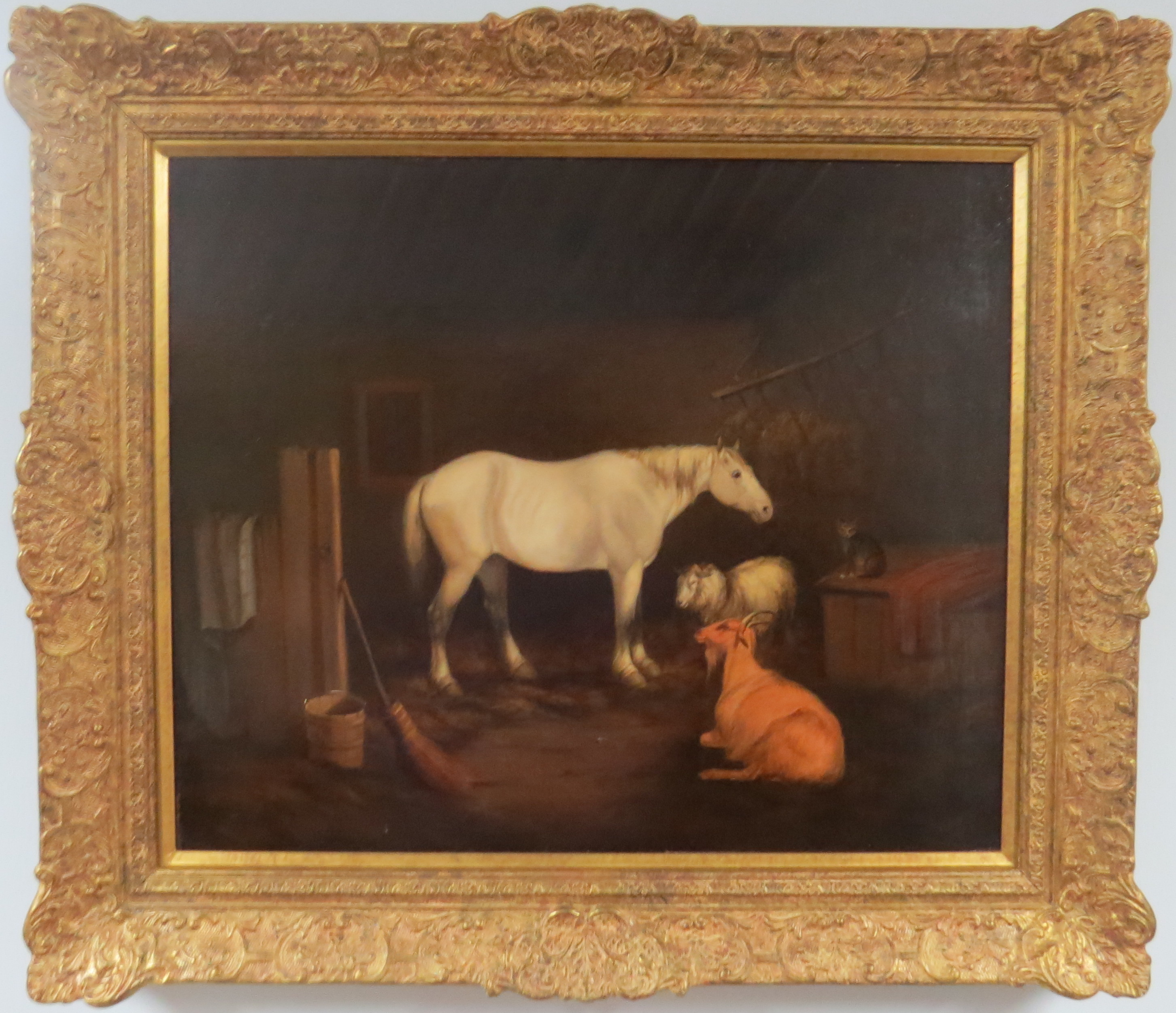Oil on Canvas of a Stable Scene, Attributed to John Alfred Wheeler (English, 1821-1877)