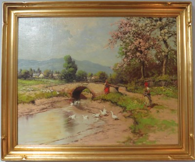 "Oil on Canvas of ""Mountainous Landscape with Women Feeding Ducks, Signed Laszlo Neogrady (Hungarian)"