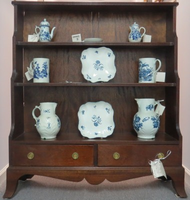 English Sheraton Style Open Bookcase Cabinet
