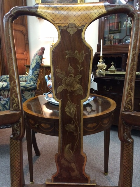 A Set of Queen Anne Style Chinoiserie Dining Chairs