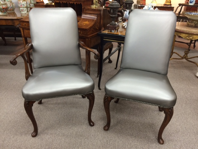 Set of Queen Anne Style Leather Dining Chairs