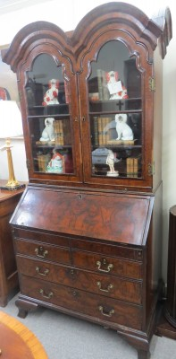 Queen Anne Walnut Double Bonnet Top Bureau Bookcase